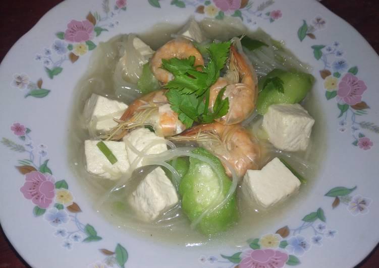 Resep memasak Sup Udang Oyong Tahu mie Laksa enak