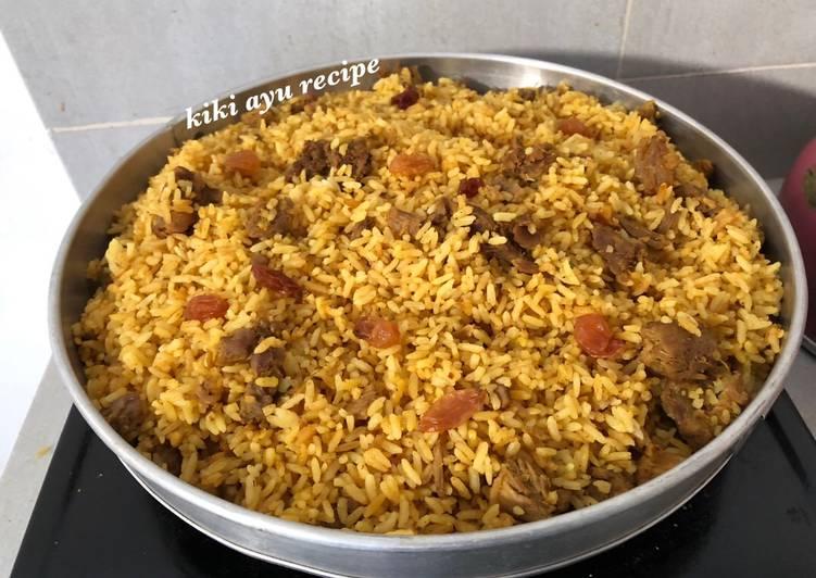 Cara Mudah memasak Nasi Kabli (Kebuli Kerbau India) tanpa basmati sedap
