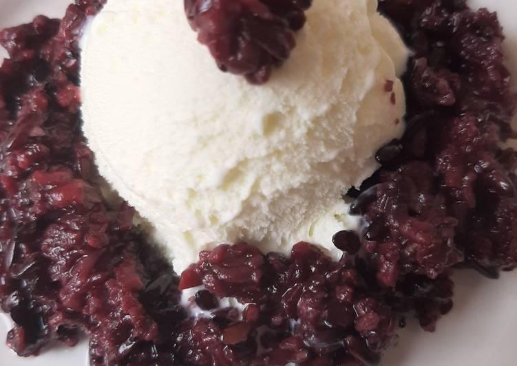 Resep: Ice Cream Vanila + Tape Ketan Hitam ala resto