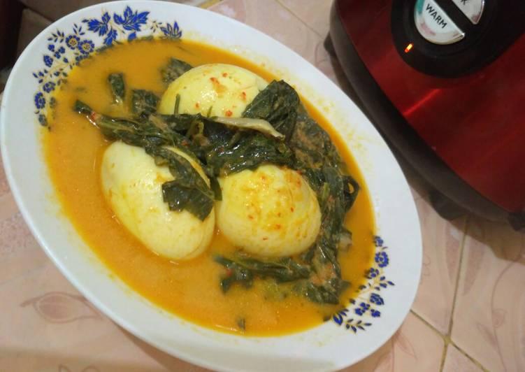 Resep: Gulai telur,pucuk ubi dan ikan teri