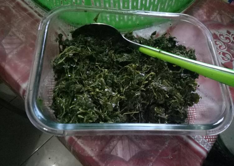 Cara Mudah mengolah Daun pucuk ubi remas (pucuk daun singkong) tumis kampung istimewa