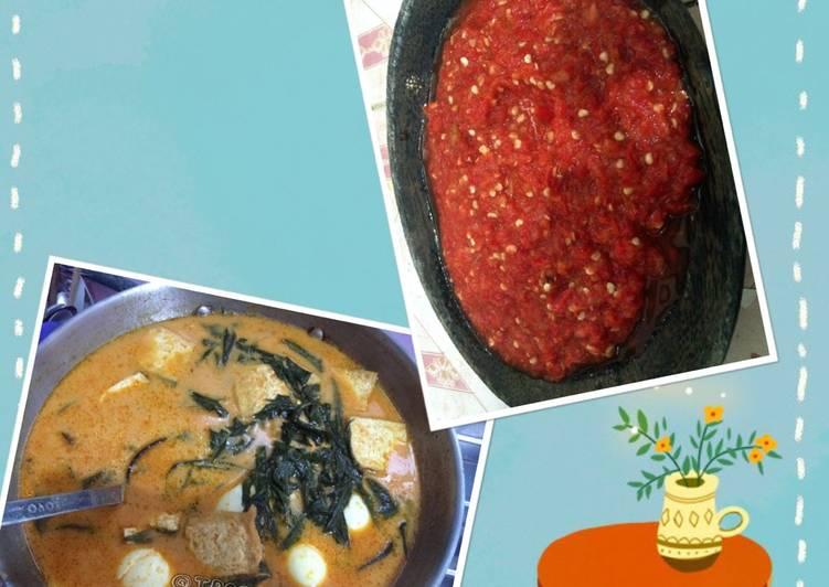 Cara memasak Gulai telur pucuk ubi(daun singkong) + sambalado tomat yang menggugah selera