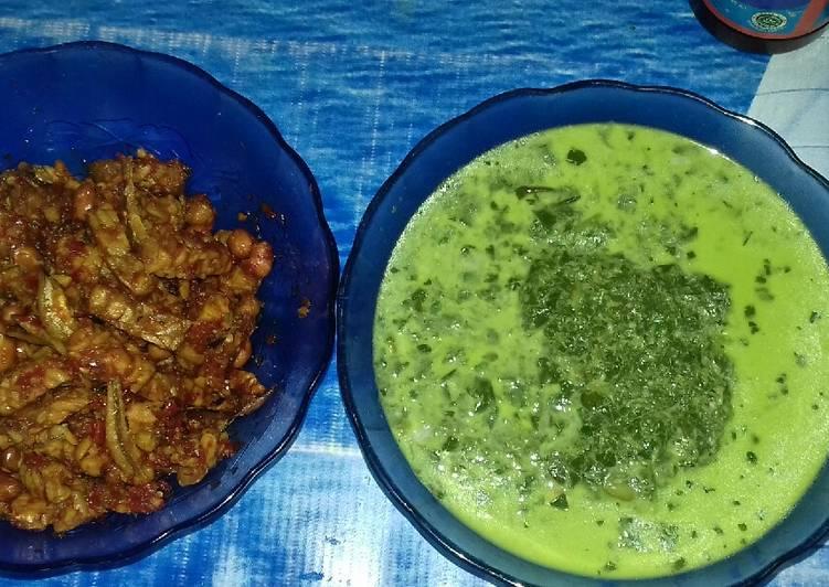 Cara Mudah membuat Pucuk ubi tumbuk + teri kacang ala ' bunda fatimah' lezat