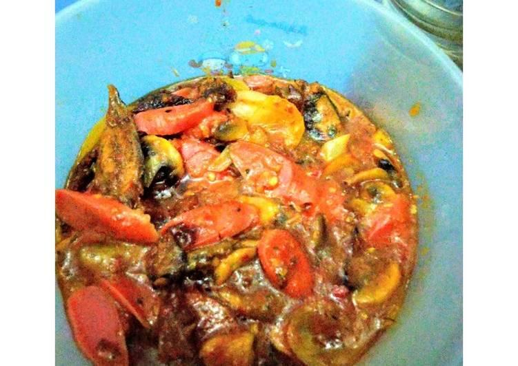 Cara memasak Pisoja (Pindang sosis jamur kancing) saus Padang istimewa