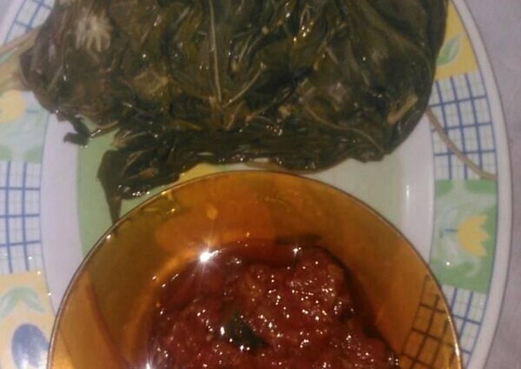 Resep: Daun singkong dengan sambal terasi/Pallutangke(makassar) sedap