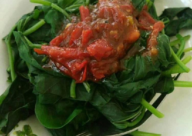 Resep: Daun ubi sambal asam ala resto