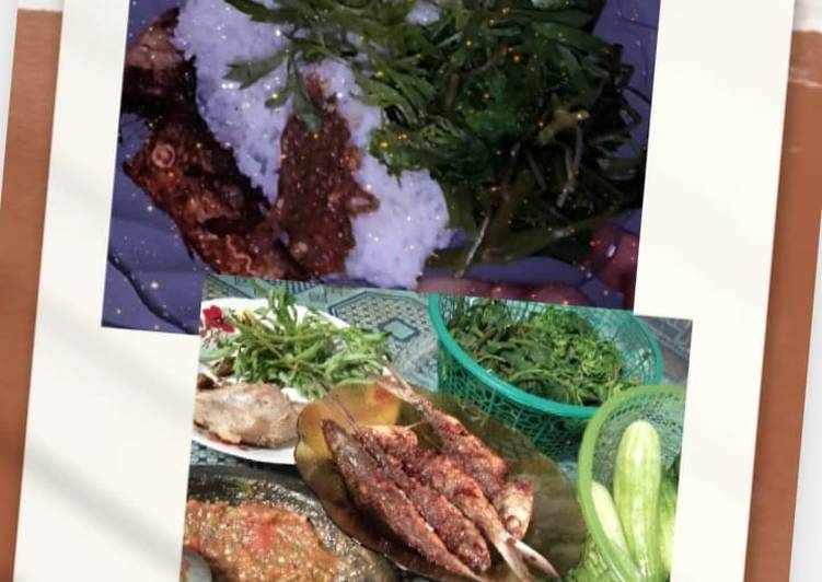 Resep: 2. Ikan goreng dengan lalapan dan sambal terasi ala jeng iphone lezat