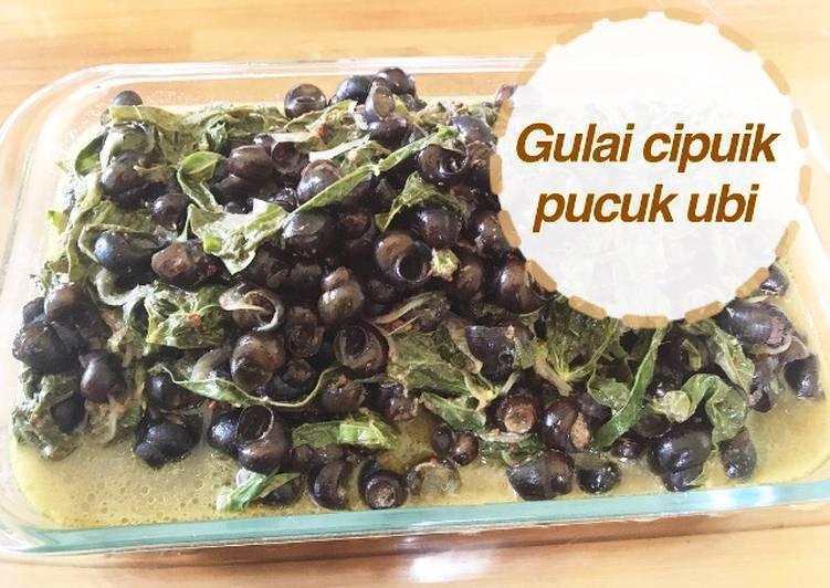 Resep: Gulai cipuik + pucuk ubi khas minang enak