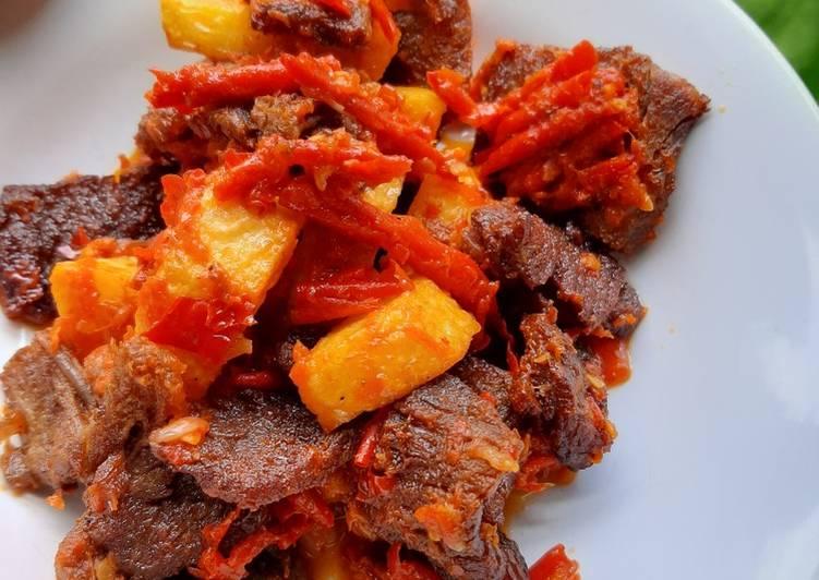Resep: Dendeng sapi lambok balado kentang lezat