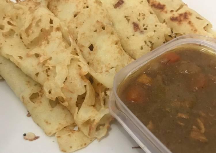 Cara Mudah membuat Roti Jala dengan Chicken Curry Kari Ayam enak
