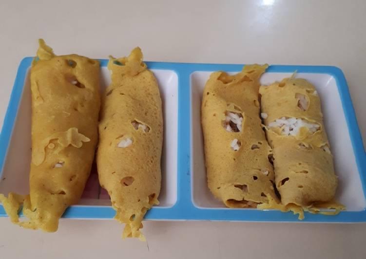 Cara membuat Roti jala isi nasi abon yang menggugah selera