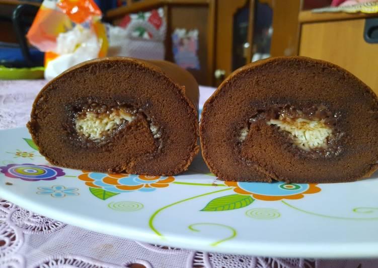 Cara Mudah mengolah Bolu gulung cokelat nutella keju super lembut yang bikin ketagihan