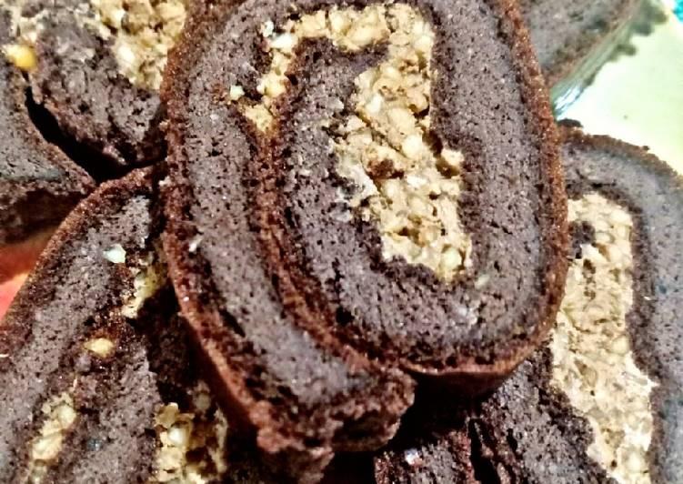 Resep: Bolu Gulung Coklat Kacang #Keto 😍 ala resto