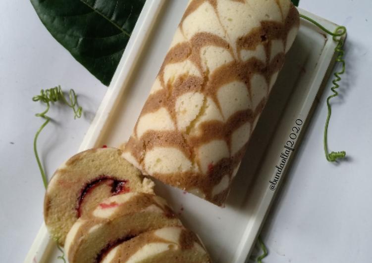 Cara mengolah Bolu gulung batik kukus/panggang yang bikin ketagihan
