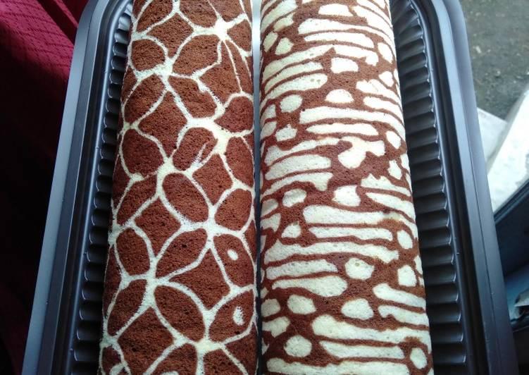 Cara membuat Bolu gulung kukus batik yang bikin ketagihan