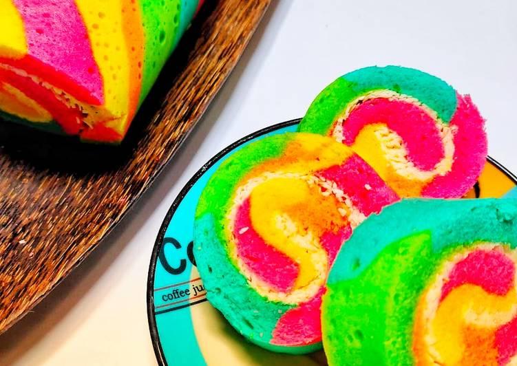 Cara Mudah mengolah Bolu gulung rainbow istimewa