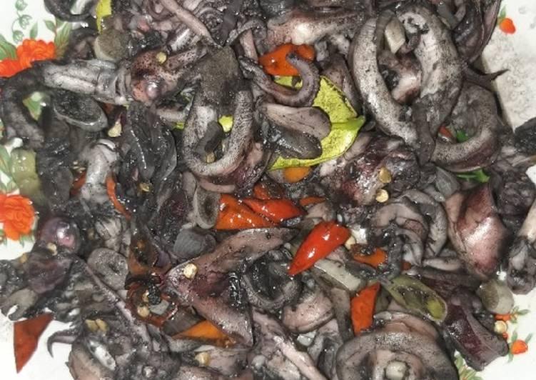 Resep memasak Tumis cumi teropong (sotong) hitam non MSG lezat