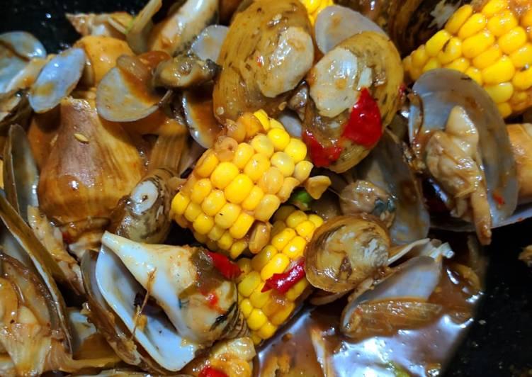 Resep: Seafood saus padang sok kabeh kerang& gonggong sedap