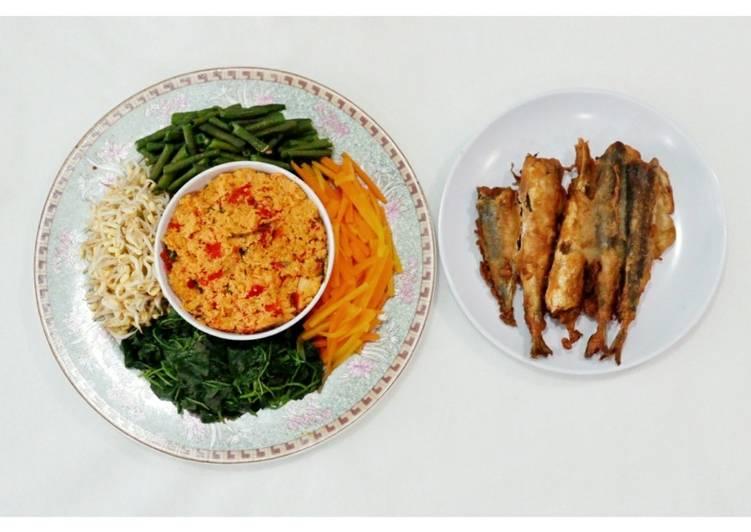 Resep: Gudangan khas solo dan ikan asin goreng tepung sedap