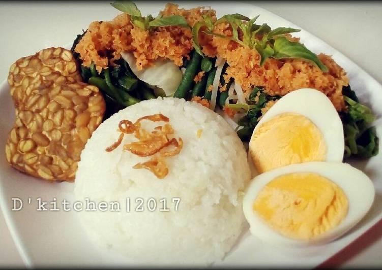 Resep mengolah Sego Gudangan a.k.a Nasi Urap ala resto