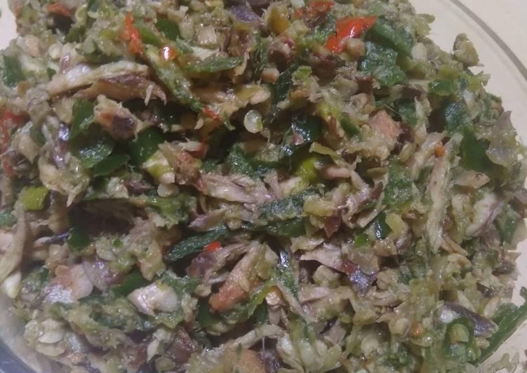 Cara mengolah Lauk Sambal pada Nasi Kucing (pindang sambal ijo) sedap