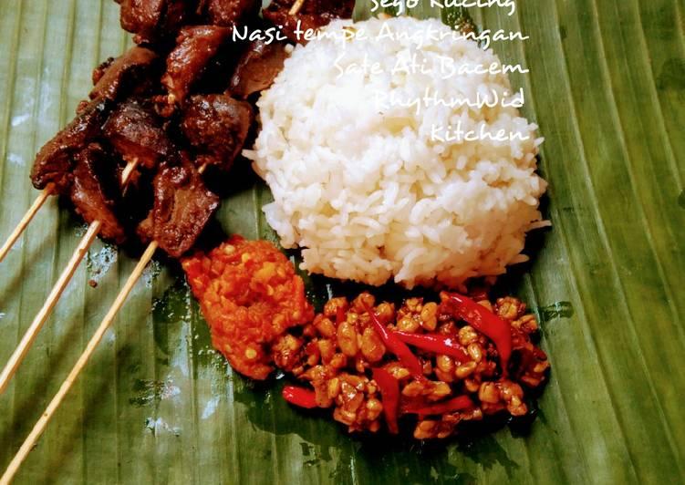 Resep: Sego Kucing, Nasi Tempe Angkringan, Plus Sate Rempelo ati lezat