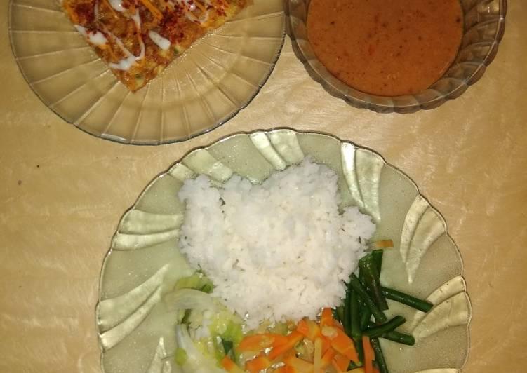 Resep: Nasi pecel & omlete ala resto