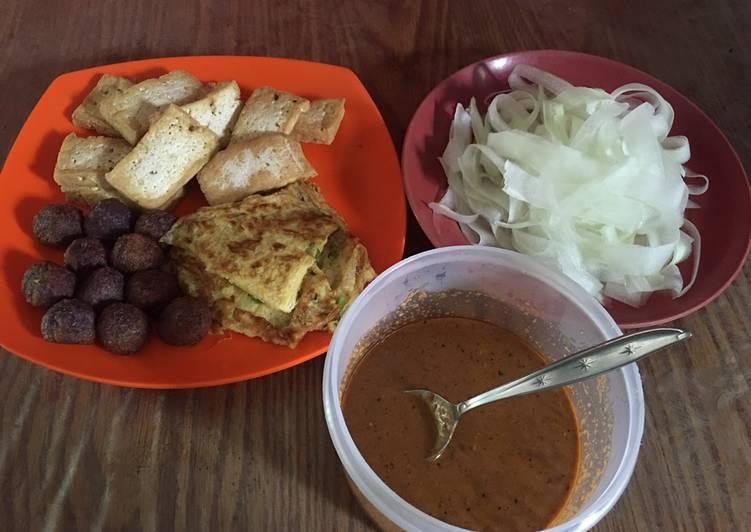 Resep: Pecel (tahu, telur dadar, bola ubi ungu, timun) ala resto