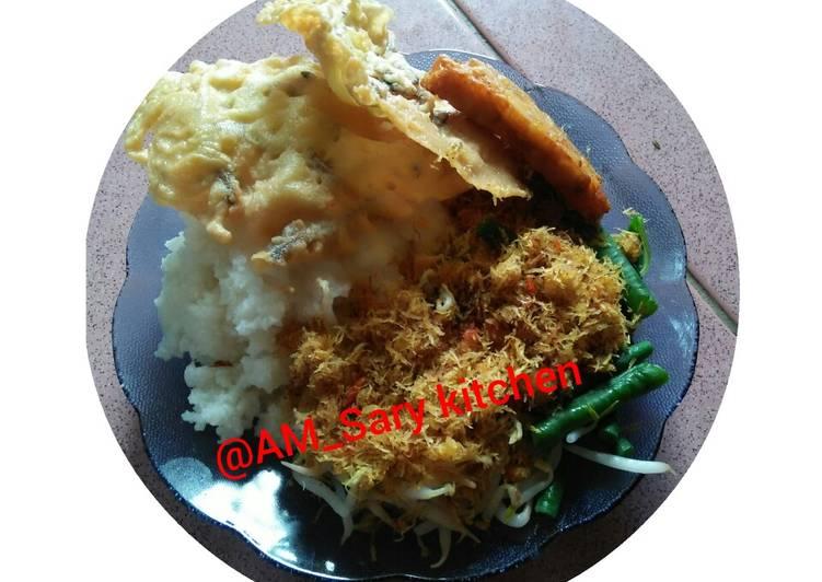 Resep: Nasi Jagung Urap dan peyek teri khas desa sedap