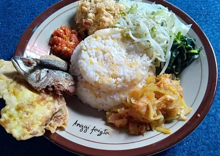 Resep memasak Nasi Jagung Komplit Lauk Pauk dan Sayuran
