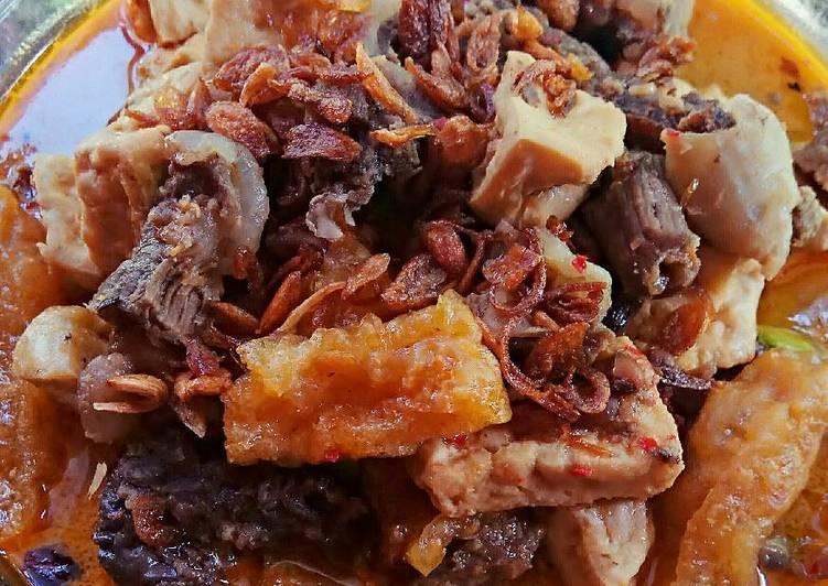 Cara membuat Sambal krecek tahu campur daging ala resto