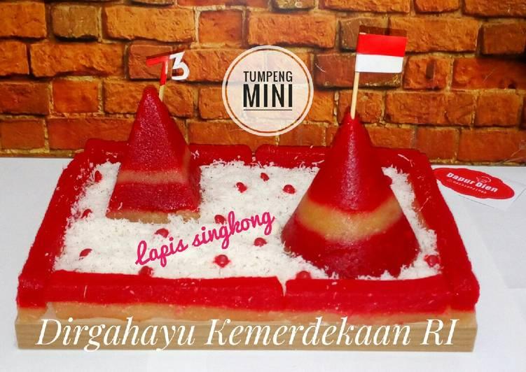 Resep: Tumpeng mini lapis singkong merah putih 🇮🇩 lezat