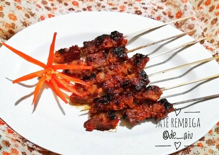 Cara Mudah memasak Sate Rembiga (sate sapi khas Mataram) enak