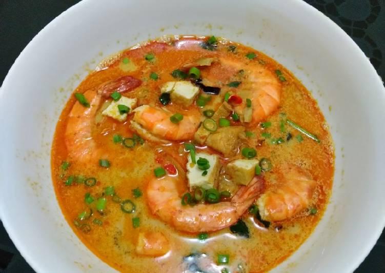 Cara Mudah mengolah Sup udang tahu kuah santan rempah ala resto