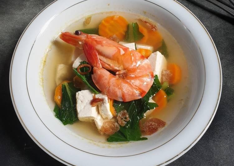 Cara memasak Sup Tahu Udang Ala Thai ala resto