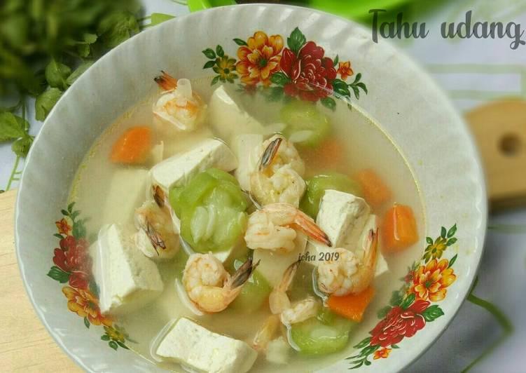Resep: Sup oyong tahu udang istimewa