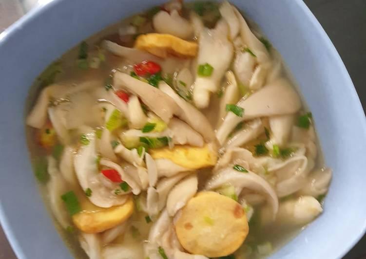 Cara Mudah mengolah Sup Jamur Tiram Tofu Udang yang menggugah selera