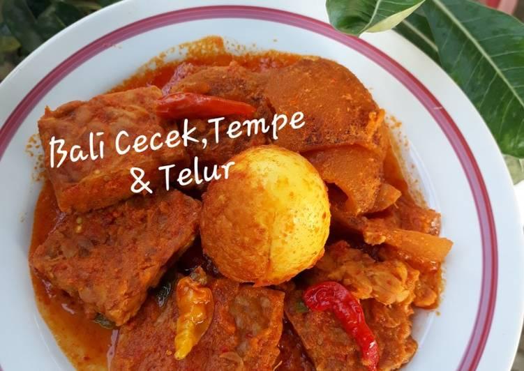 Resep mengolah Cecek, Tempe & Telur Bumbu Bali istimewa