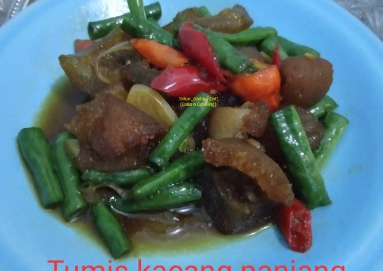Resep memasak Tumis kacang panjang cecek (kulit sapi) lezat