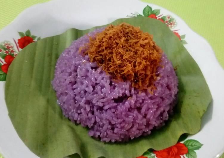 Cara memasak Jadah oran ungu(ketan ungu)