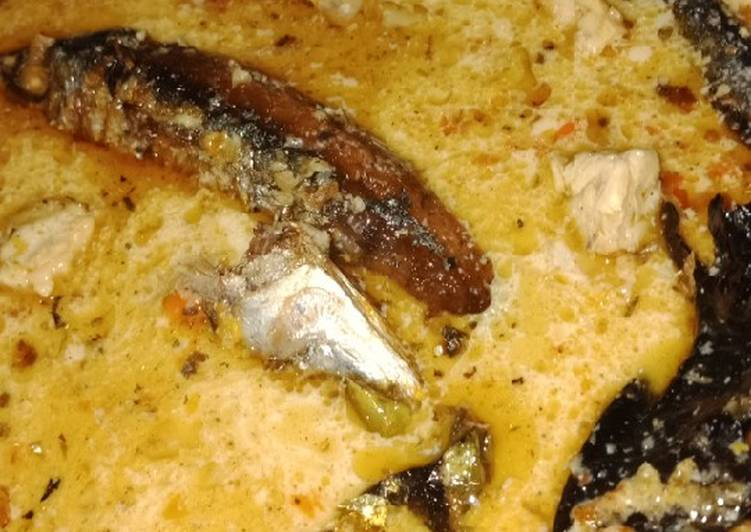Resep: Ikan pindang/cue dan tempe kuah santan pedas