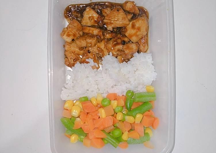 Ayam Lada Hitam dan Mix Vegetable (Meal prep diet) #dirumahaja