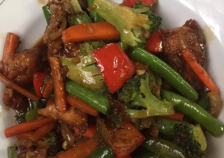Resep memasak Ayam lada hitam saori + sayuran