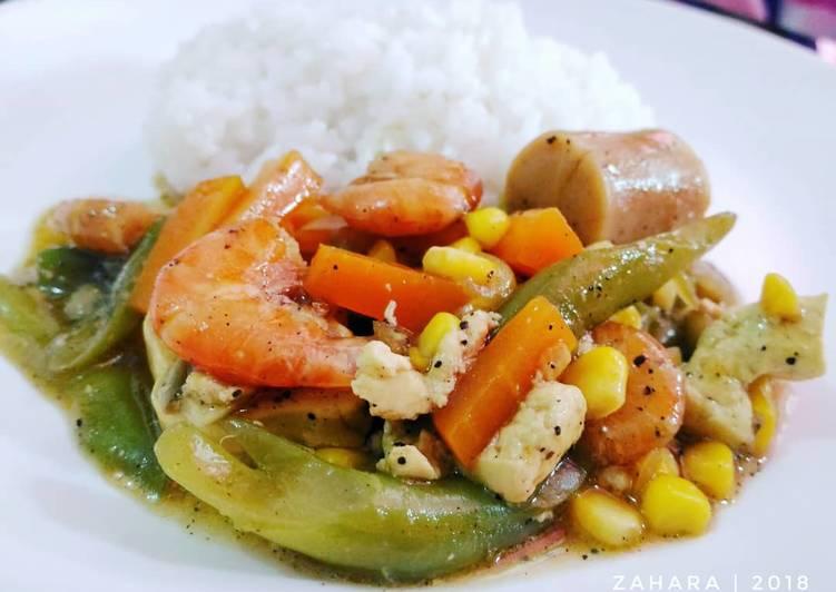 Resep mengolah Udang dan Sayur Saus Lada Hitam #RabuBaru