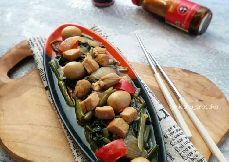 Cara Mudah memasak Kangkung Lada Hitam ala HotPlate istimewa