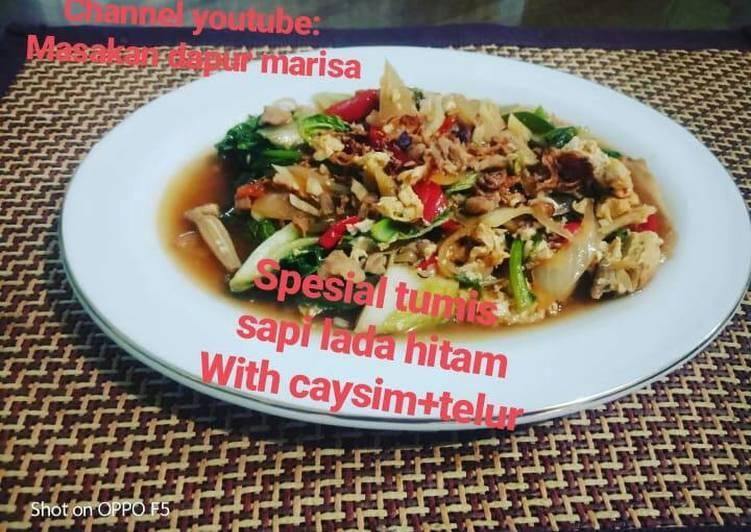 Resep: Special,,,Tumis sapi lada hitam with caysim+telur