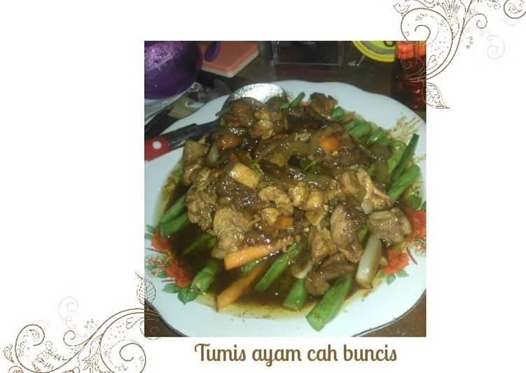 Cara memasak Tumis ayam cah buncis lada hitam