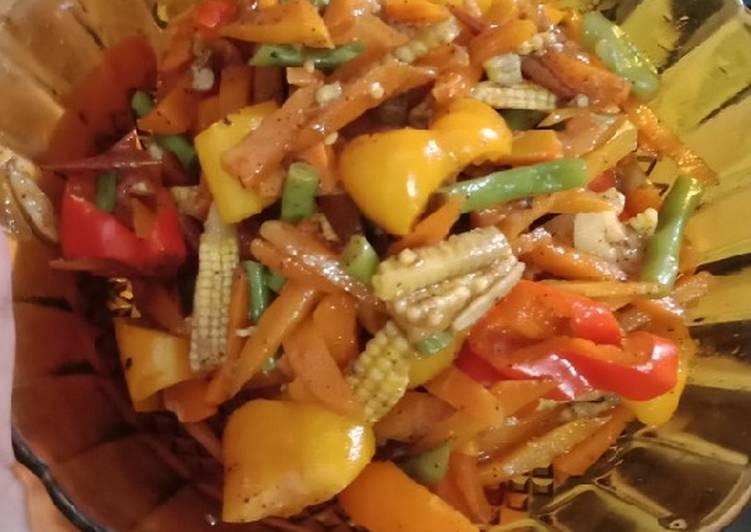 Resep memasak Tumis baby corn, sweet pepper, wortel, buncis, lada hitam