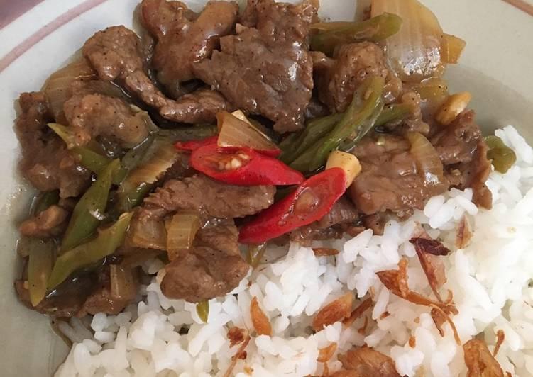 Resep: Tumis buncis daging lada hitam lezat
