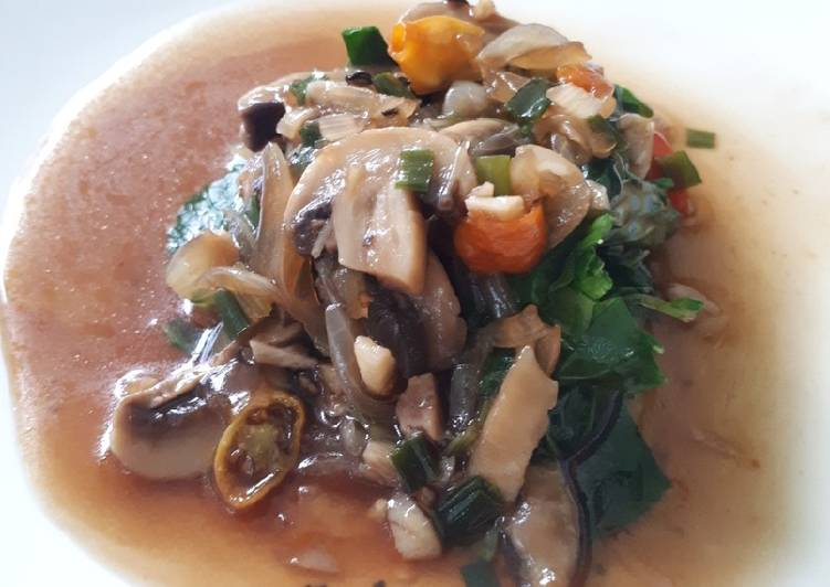 Resep: Sawi Siram Saus Jamur Lada Hitam Mudah dan Simpel lezat